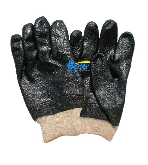 Rough Finished PVC Fully Dipped Chemical-Resistant-Gloves(BGPC301)