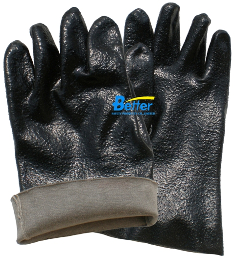 Rough Finished Black PVC Dipped Safety Gloves (BGPC302)