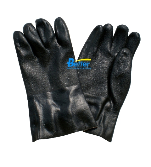 Sandy Finished Black PVC Dipped Working Gloves (BGPC401)