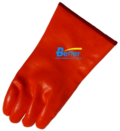 Smooth Finished Fluorescent PVC Fully Dipped Chemical-Resistant-Gloves-BGPC505
