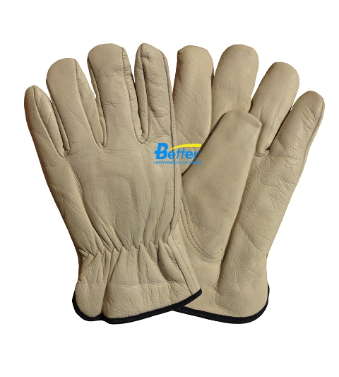 Natural Cow Grain Leather Driver Gloves (BGCD103)