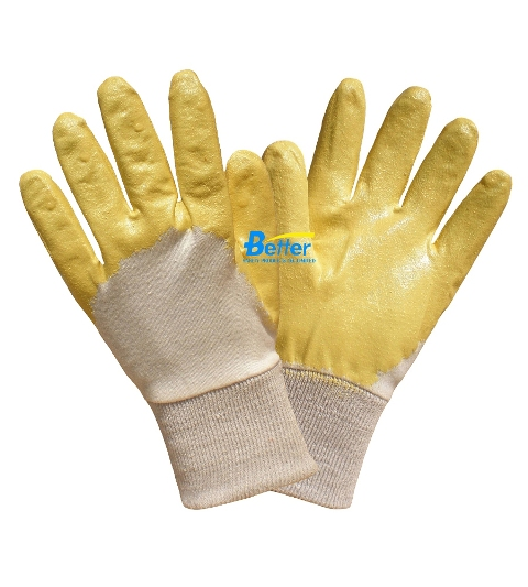 Russian Style Yellow Lightweight Nitrile Coated Work Gloves (BGNC102)