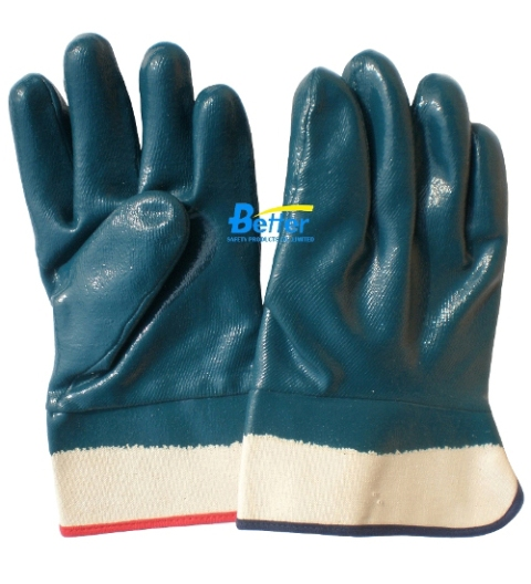 Blue Heavyduty Nitrile Coated Work Gloves-Safety Cuff (BGNC204)