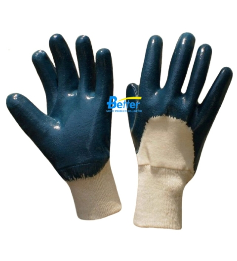 Blue Heavyduty Nitrile Coated Gloves-Knit Wrist (BGNC201)
