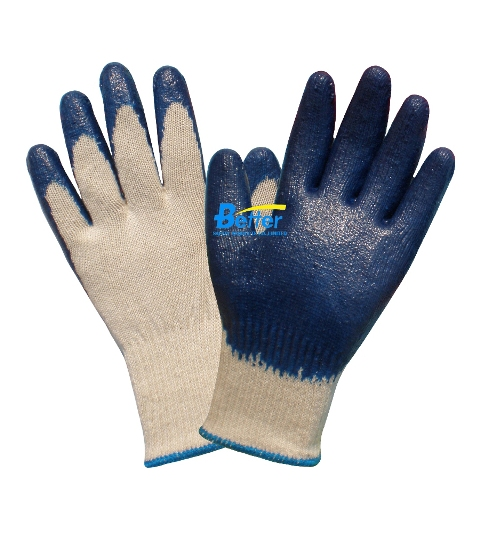 Economy USA Market Smooth Finished Blue Latex Coated Work Gloves (BGLC102)