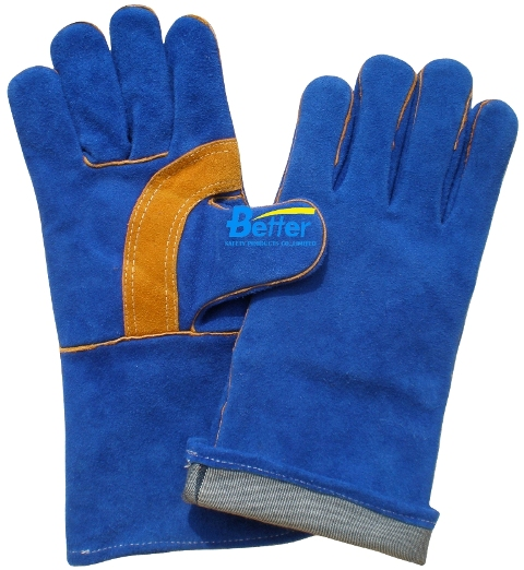 High Quality Blue Cow Split Leather Safety Gloves(BGCW208)