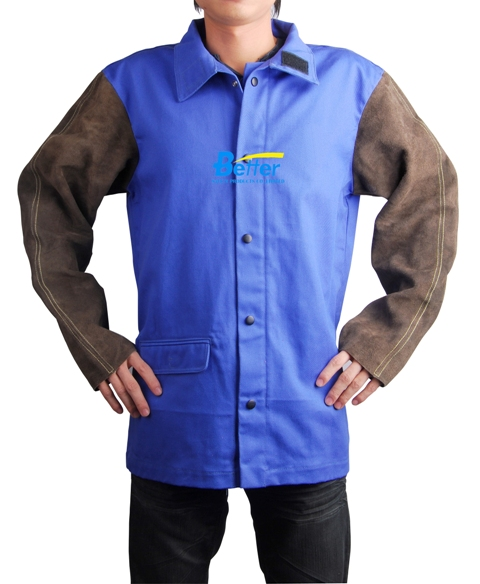 BWJ-2530-Blue FR(Flame Retardant) Body Welding Jacket W Split Cowhide Sl