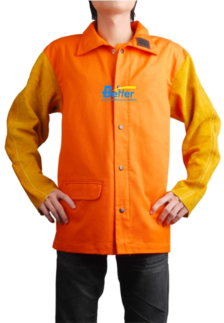 BWJ-2630-Hi-Viz Orange FR(Flame Retardant) Body Welding Jacket W Split Cowhide S