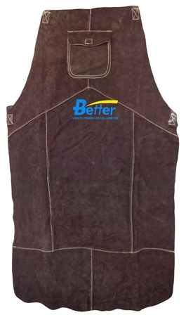 BWP-6100-Super Strong Charcoal-Brown Split Cowhide Leather Welding Apron
