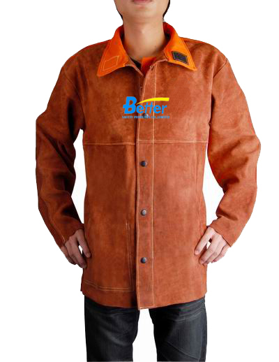 BWJ-3080-Coffee Split Cowhide Leather Welding Jackets With Blue FR (Flame Retard