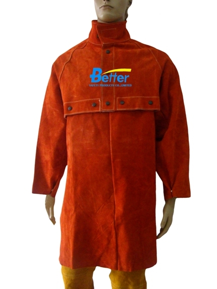 BWJ-8188- Split Cowhide  Welding Cape W Detachable Split Cowhide Apron