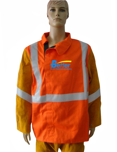 BWJ-2730-Hi-Viz Orange Fireman FR(Flame Retardant) Cotton Body Welding Jacket