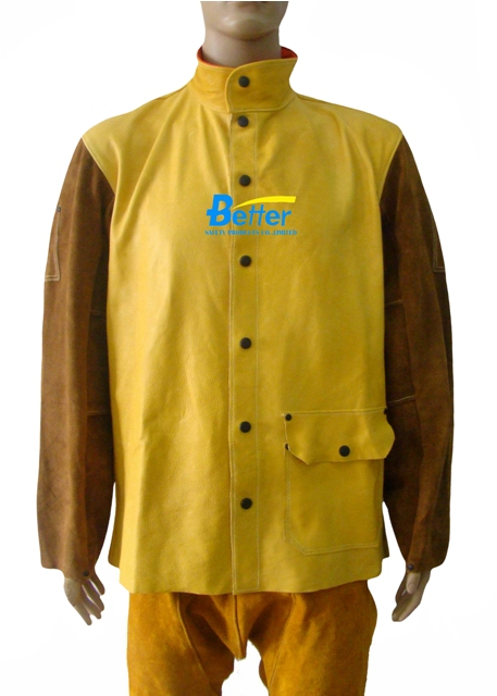 BWJ- 2830-Grain Cowhide Body Welding Jacket With Split Cowhide Sleeves