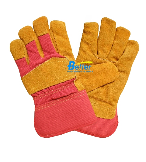 Excellent Golden Cow Split Leather Palm Safety Gloves (BGCL203)