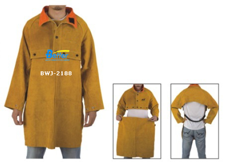 BWJ-2188-Detachable Split Cowhide Welding Apron With  Split Cowhide Welding Cape