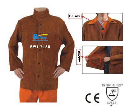BWJ-7130- Super Coffee Split cowhide Leather Welding Jacket