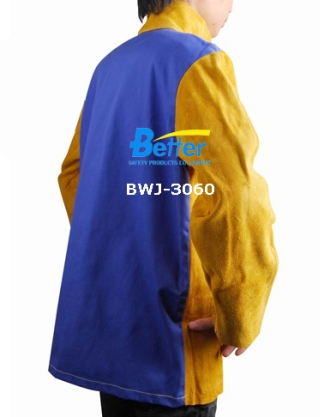 BWJ-3060- Golden Split Cowhide Leather Welding Jackets W Blue FR (Flame Retardan