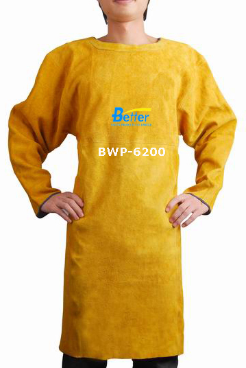 BWP-6200-Super Strong Golden Split Cowhide Leather Welder Apron with Long Sleeve