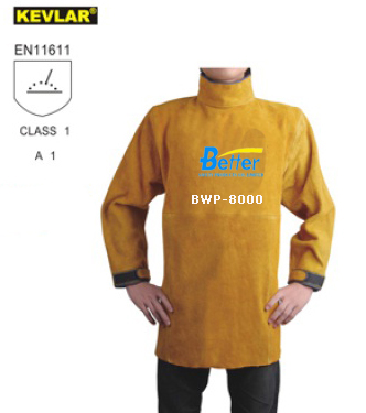 BWP-8000-Super Strong Golden Split Cowhide Leather Welder Apron with Long Sleeve