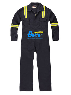 BFRC110 - Black Fire Retardant Coverall with Reflective Tapes, Safety Coverall