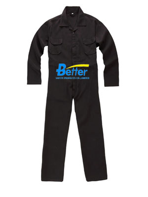 BFRC113 - Black FR Cotton Fire Retardant Coverall, Safety Coverall