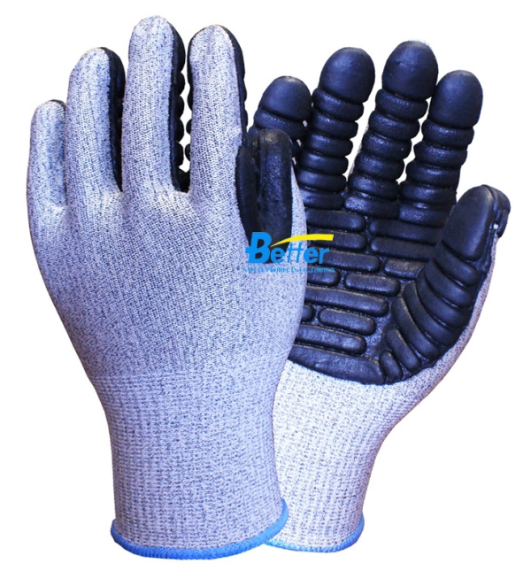 BGAV002-CUTResistant Latex Rubber Palm Anti-Vibration Gloves