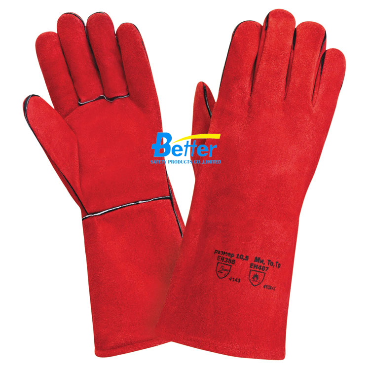 Super Red Cow Split Leather Welding Gloves (BGCW203)