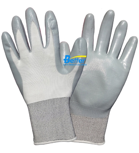 100% Nylon Lining Nitrile Smooth Dipped Work Glove(BGNC301N)