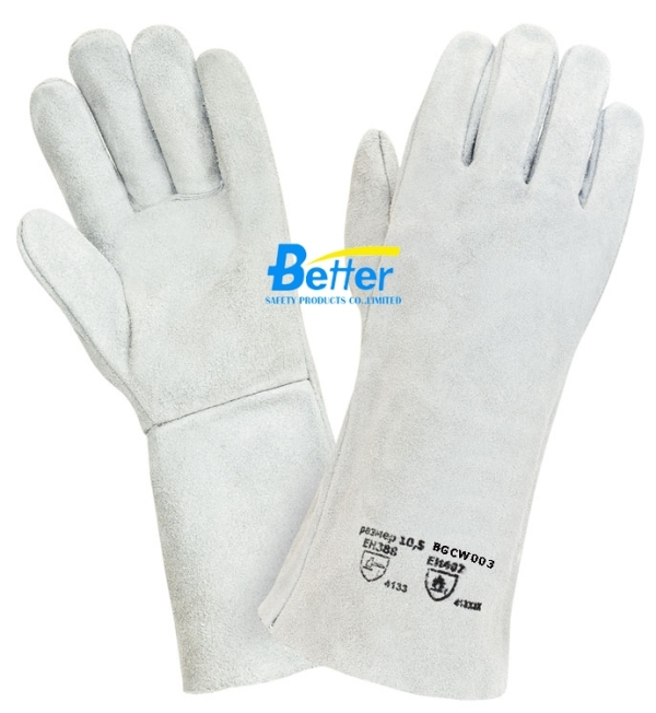Super 100% Natural Cow Split Leather Welding Gloves, No Lining(BGCW003)