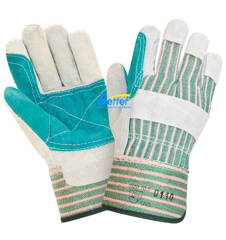 Double Palm Cow Split Leather Working Gloves (BGCL204)